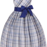 Royal Blue Linen Blend Tartan Plaid Occasion Dress with Ribbon Sash (Girls Sizes 2T - 12)