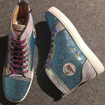 Cl Christian Louboutin Rhinestone Style #1957 Sneakers Fashion Shoes - Best Deal Online