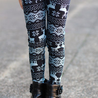 Girls Reindeer Leggings {Black/Grey Mix}