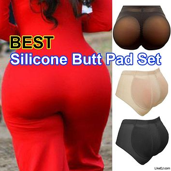 Big Silicone BUTT Pads Padded buttock Enhancer body Shaper Tummy Control Brief Panty Set