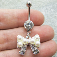 Pearl Bow Belly Button Ring ,Ribbon Belly ButtonJewelry,Summer Jewelry ,Unique Gift