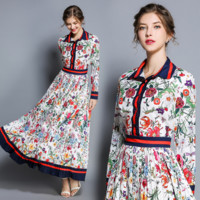 Gucci The latest fashionable retro-coloured printed long-sleeved pleated Long-style dress