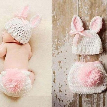 Cream rabbit bunny hats with shorts sets suits  Handmade outfits newborn infant baby boys prince Girls Animal Costume Crochet Clothing   Sets Beanie cap shorts photography props knitted cap hat 0-6Month (Size: 0-6m, Color: White & Pink) = 1945855236