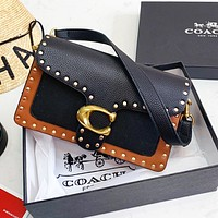 COACH Fashion Women Shopping Bag Rivet Leather Shoulder Bag Crossbody Satchel