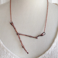 Large Twig Necklace - Real Twig Electroplated with Recycled Copper