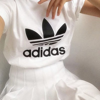 "Women Fashion ""Adidas"" T-Shirt Top Tee White and Pleated skirt"