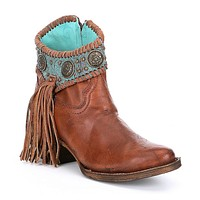 Corral Cognac-Turquoise Concho Ankle Boots