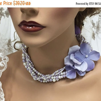 Bridal necklace, Bridal jewelry, Wedding jewelry, Twisted pearl necklace, Lavender necklace, braided Pearl necklace, wedding necklace