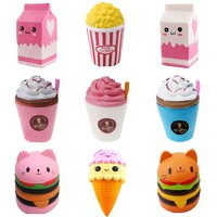 2018 Jumbo Squishy Toys Children Slow Rising Antistress Toy Cat Hamburger Fries Squishies Stress Relief Toy Funny Kids Gift Toy