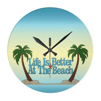 Decorative Wall Clock, Life is Better at the Beach typography art in turquoise and yellow, tropical decor, nautical wall art