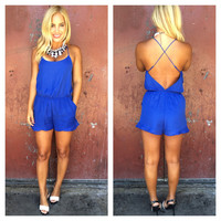 Coastline Romper With Pockets - ROYAL BLUE