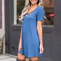 Wyatt X Chest Tunic (Slate Blue)