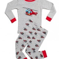 """Leveret Little Boy """"Helicopter"""" 2 Piece Pajama 100% Cotton (Size 6M-7-8 Years)"""