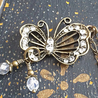 Butterfly Brass Charm Necklace, Antique Brass Jewelry, Clear Crystal Glass Rhinestones, Butterfly Lover