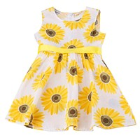 Kids Sunflower Pattern Sleeveless Dress with Ribbons