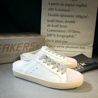 Golden Goose Ggdb White Leather And White Star Slipper DCCK
