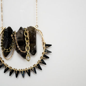 Bohemian Black Raw Crystal Stones - Raw Brass - Dangle Chains & Spikes