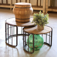 Nesting Round Coffee Tables with Slatted Wood Top & Metal Tube Base