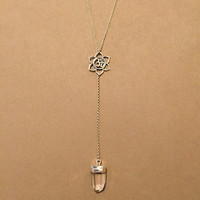 Lotus and Om Necklace-Sterling Silver