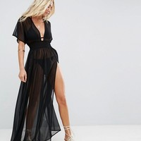 ASOS Shirred Waist Maxi Chiffon Beach Caftan at asos.com