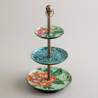 Blue Enameled Three-Tiered Jewelry Stand
