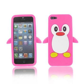 Apple iPhone 5S/ 5 Penguin Skin Case Hot Pink