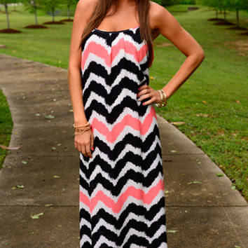 Painted Chevron Maxi, Coral/Black