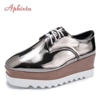Aphixta Flat Platform Shoes Woman Lace-up Square Heel Shoes Casual Women's Shoes Ladies Shoes Zapatos Mujer Creepers Footwear