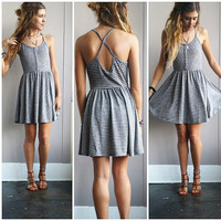 A Button Up Striped Sundress- Grey