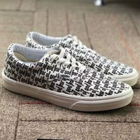 VANS OLD SKOOL & OFF WHITE Joint Casual Trend Fashion Skate Shoes F-CSXY grey