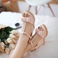 Wedges Sandals Women Pumps High Heels T Straps Rhinestone Bowtie Platform Shoes Woman 3452