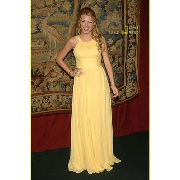 Blake Lively Yellow Chiffon Prom Formal Celebrity Dress Bridesmaid Dress