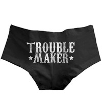 "Women's ""Trouble Maker"" Boy Shorts by Badcock Apparel (Black)"