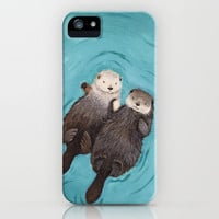 Otterly Romantic - Otters Holding Hands iPhone Case by When Guinea Pigs Fly