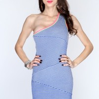Blue Multi One Shoulder Knitted Sexy Bandage Dress