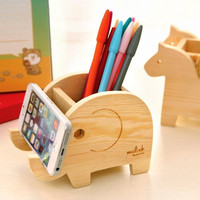 Elephant Cute Wood Pencil Holder