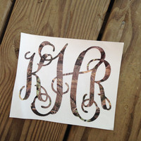 Monogram Camo Vinyl Decal Car Window 5in Sticker Camouflage Personalized Monogrammed Initials for Auto Vehicle