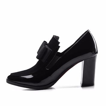Black Patent Leather Chunky High Heels Bow Fashion Square Toe Women's Pumps Shoes