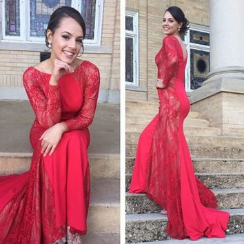 Red Long Prom Dress Evening Party Dress pst0671
