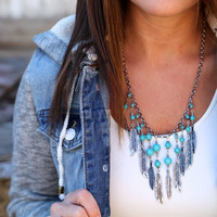 Indian Leaf Necklace - Silver Turquoise Necklace {Non-returnable}
