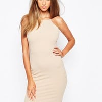 Missguided Ribbed 90's Neck Bodycon Dress