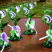 Hand Painted Green Wine Glasses With Purple And White Flowers