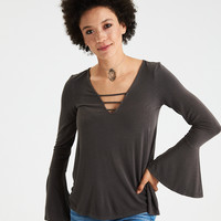 AE Soft & Sexy Strappy V-Neck Bell-Sleeve Top, Gray