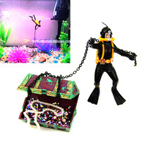 New Unique Design Hunter Treasure Figure Action Decor Fish Tank Aquarium Ornament Landscape