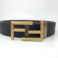 Fendi simple double F logo smooth buckle belt