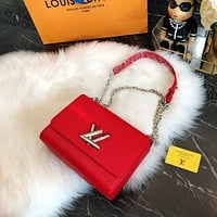 Authentic Louis Vuitton EPI Leather Twisted mm Handbag Articles: M51006 Brilliant Red Made in France