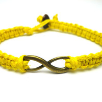 Infinity Bracelet, Bright Yellow Hemp Jewelry, Brass Tone Infinity Charm, Couples or Friendship Bracelet - Free North American Shipping