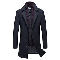 Men's Daily Basic Fall & Winter Long Trench Coat, Solid Colored Turndown Long Sleeve Polyester Navy Blue / Gray