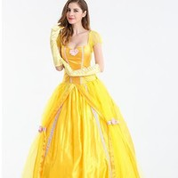 S-XXL Beauty and the Beast Halloween Princess belle cosplay Dress fancy Fairy costume stage costume yellow party carnival