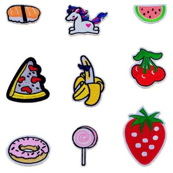 Cherry Banana Pineapple Watermelon Patches Iron On Or Sew Fabric Sticker For Clothes Badge Embroidered Appliques DIY Cool Fruit